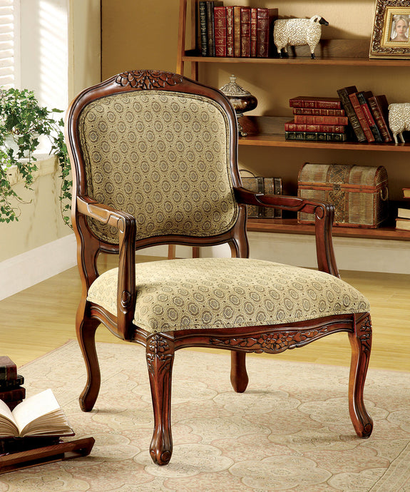 CM-AC6919 Accent Chair - Quintus Patterned Fabric Antique Oak Finish Traditional Style Accent Chair