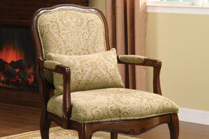 CM-AC6980 Accent Chair - Waterville Patterned Fabric Dark Cherry Finish Traditional Style Accent Chair