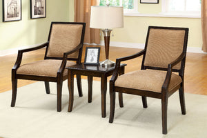 CM-AC6990-3PK Accent Chairs and Table - Boudry Traditional Style Padded Fabric - 2 Piece Accent Chairs and Table Set