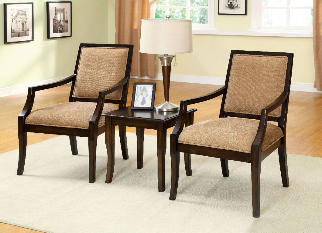 CM-AC6990-3PK - Boudry Traditional Style - 2 Piece Accent Chairs and Table Set