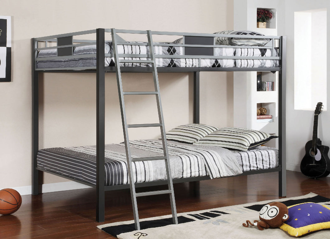 CM-BK1013 Metal Bunk Bed -  Cletis Contemporary Style Gun Metal and Silver Full over Full Metal Bunk Bed