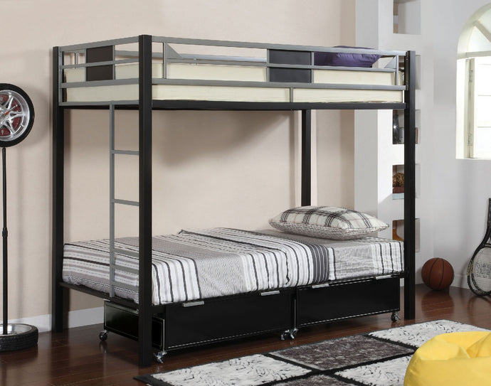 CM-BK1021 Metal Twin Bunk Bed -  Clifton Contemporary Style Silver and Black Finish Twin over Twin Metal Bunk Bed