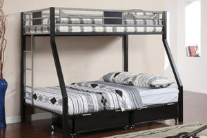 CM-BK1022 Metal Bunk Bed -  Clifton Contemporary Style Silver and Black Finish Twin over Full Metal Bunk Bed