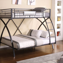 CM-BK1029 Metal Bunk Bed - Apollo Contemporary Style Gun Metal Finish Twin over Full Metal Bunk Bed