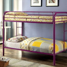 CM-BK1032-PR - Rainbow Twin over Twin Purple Metal Bunk Bed