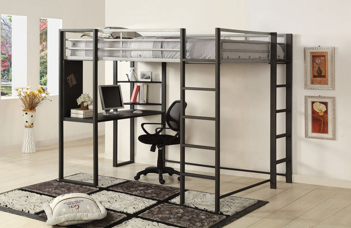 CM-BK1098F Full Loft Bed - Sherman Silver & Gun Metal Finish Contemporary Full Loft Bed with Workstation