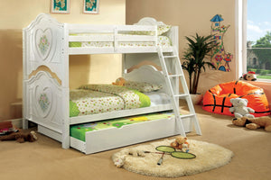 CM-BK119 Twin/Twin Bunk Bed - Isabella Contemporary Style White Finish Twin over Twin Bunk Bed