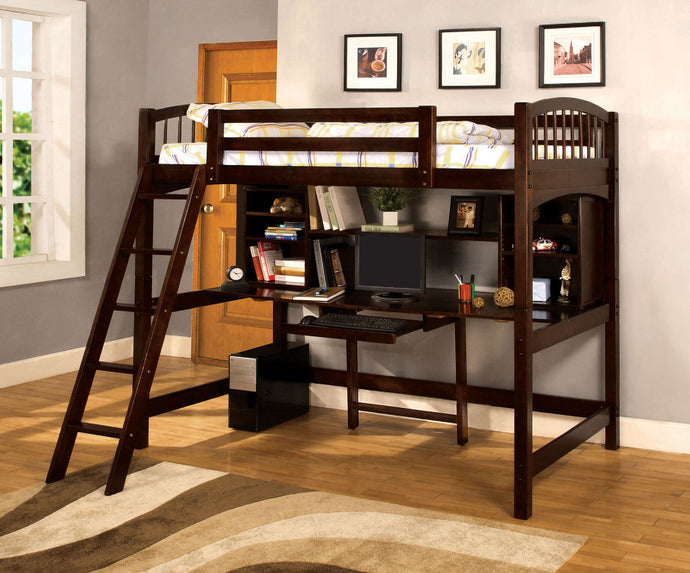 CM-BK263 Twin Loft Bed - Hayden Contemporary Style Dark Walnut Finish Twin Loft Bed with Workstation