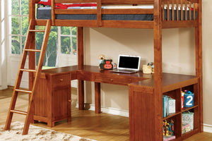 CM-BK265A Twin Loft Bed - Dutton Transitional Style Oak Finish Twin Loft Bed with Workstation