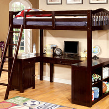 CM-BK265EX Twin Loft Bed - Dutton Transitional Style Dark Walnut Finish - Twin Loft Bed with Workstation