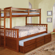 CM-BK458F-OAK Twin/Full Bunk Bed - University Transitional Style Oak Finish Twin over Full Bunk Bed