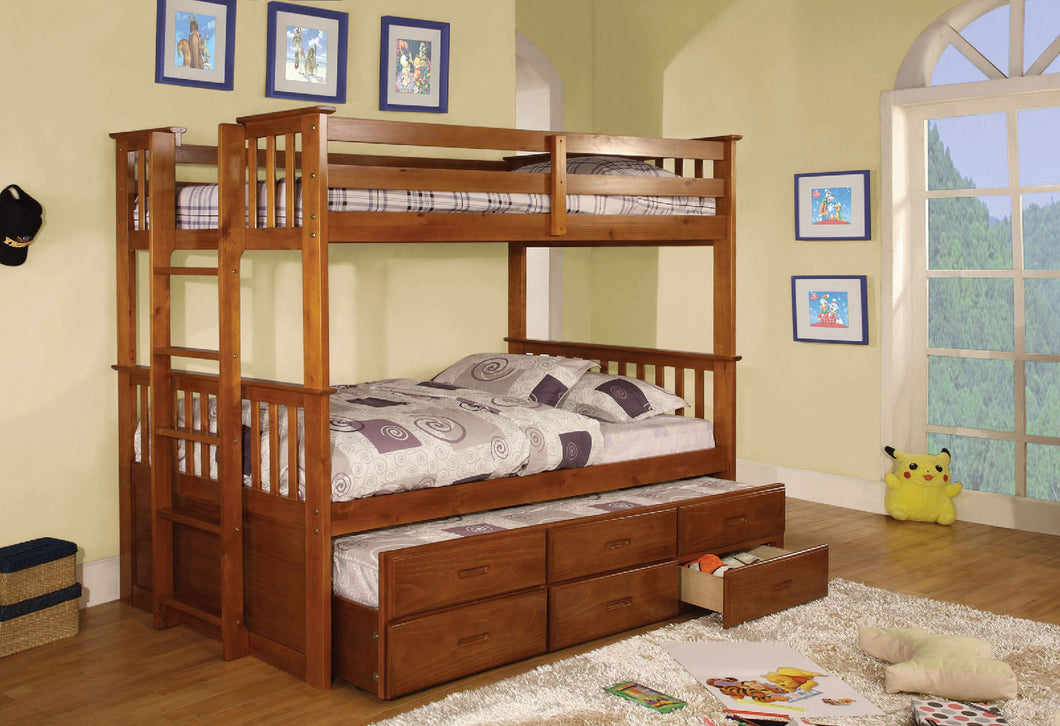 CM-BK458T-OAK - University II Twin/Twin Bunk Bed