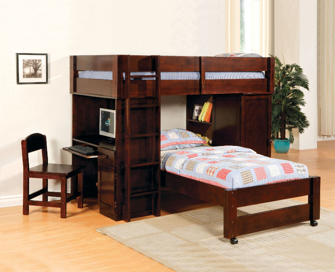 CM-BK529EXP Twin Loft Bed - Hartford Contemporary Style Dark Walnut Finish - Twin Loft Bed with Built-In Desk & Chair