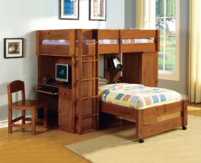 CM-BK529OAK Twin Loft Bed - Hartford Contemporary Style Oak Finish - Twin Loft Bed with Built-In Desk & Chair