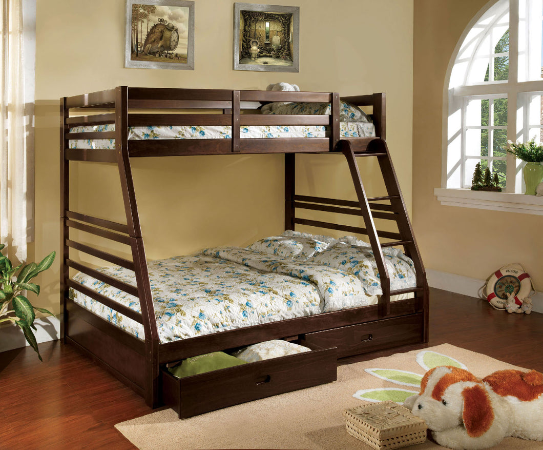CM-BK588EX Bunk Bed - California Transitional Style Dark Walnut Finish - Twin over Full Bunk Bed with 2 Drawers