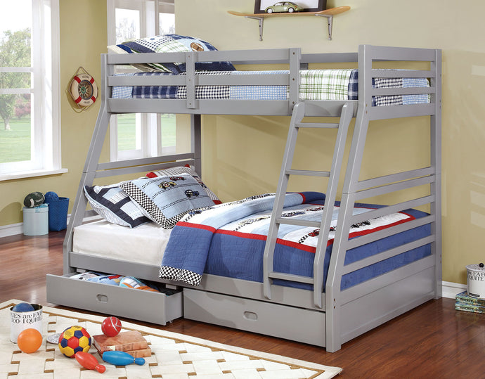 CM-BK588GY Bunk Bed - California Transitional Style Grey Finish - Twin over Full Bunk Bed with 2 Drawers