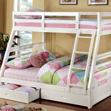 CM-BK588WH Bunk Bed - California Transitional Style White Finish - Twin over Full Bunk Bed with 2 Drawers