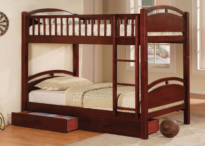 CM-BK600CH Twin Bunk Bed - California Transitional Style Cherry Finish Twin over Twin Bunk Bed with Drawers