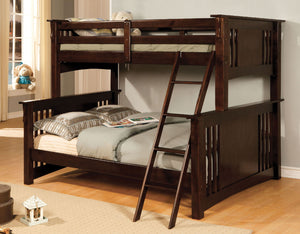 CM-BK602F-EXP Twin/Full Bunk Bed - Spring Creek Transitional Dark Walnut Finish Twin over Full Bunk Bed
