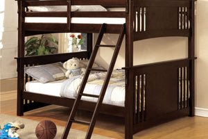 CM-BK603EXP Full/Full Bunk Bed - Spring Creek Transitional Dark Walnut Finish - Full over Full Bunk Bed