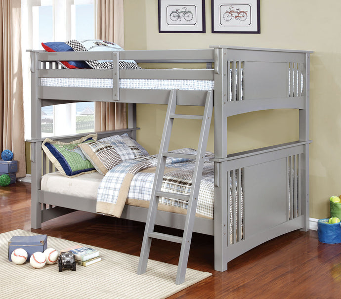 CM-BK603GY Full/Full Bunk Bed - Spring Creek Transitional Style Grey Finish - Full over Full Bunk Bed