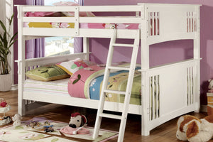 CM-BK603WH Full/Full Bunk Bed - Spring Creek Transitional Style White Finish - Full over Full Bunk Bed