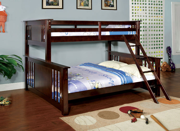 CM-BK604EXP Twin/Queen Bunk Bed - Spring Creek Transitional Dark Walnut Twin-XL over Queen Bunk Bed