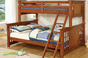 CM-BK604OAK Twin/Queen Bunk Bed - Spring Creek Transitional Style Oak Finish Twin-XL over Queen Bunk Bed