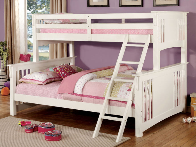 CM-BK604WH Twin/Queen Bunk Bed - Spring Creek Transitional White Finish Twin-XL over Queen Bunk Bed
