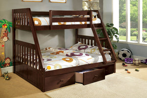 CM-BK605EX Twin/Full Bunk Bed - Canberra Transitional Dark Walnut Finish Twin over Full Bunk Bed
