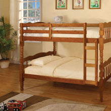 CM-BK606A Twin/Twin Bunk Bed - Catalina Traditional Style Oak Finish Twin over Twin Bunk Bed