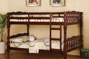 CM-BK606CH Twin/Twin Bunk Bed - Catalina Traditional Style Cherry Finish Twin over Twin Bunk Bed