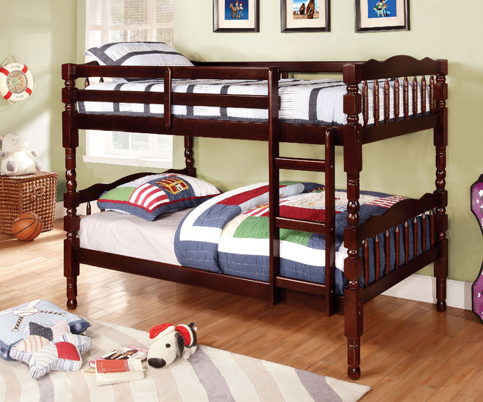CM-BK606EX Twin/Twin Bunk Bed - Catalina Traditional Style Dark Walnut Finish Twin over Twin Bunk Bed