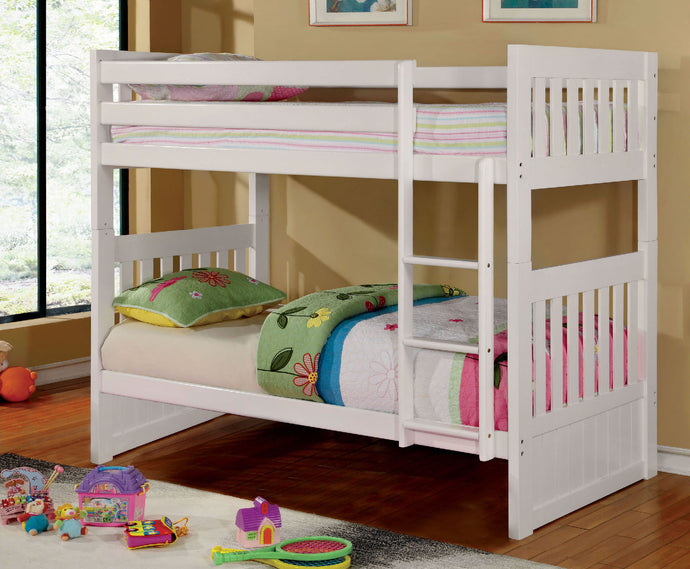 CM-BK607T-WH Twin/Twin Bunk Bed - Canberra Transitional Style White Finish Twin over Twin Bunk Bed