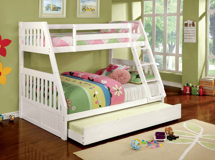 CM-BK607WH - Twin/Full Bunk Bed - Canberra Transitional Style White Finish Twin over Full Bunk Bed