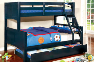 CM-BK608F-BL Twin/Full Bunk Bed - Prismo Transitional Style Blue Finish - Twin over Full Bunk Bed