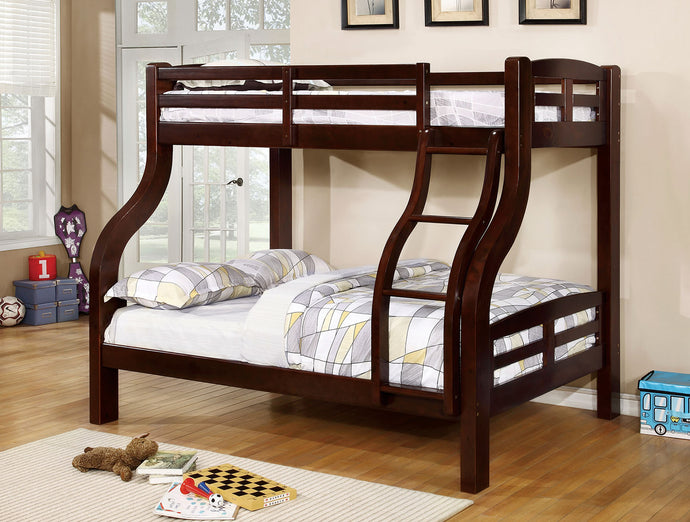 CM-BK618EX Twin/Full Bunk Bed - Solpine Transitional Style Dark Walnut - Twin over Full Bunk Bed