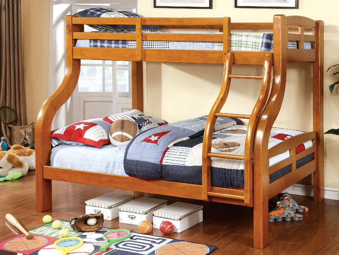 CM-BK618 Twin/Full Bunk Bed - Solpine Transitional Style Oak Finish - Twin over Full Bunk Bed
