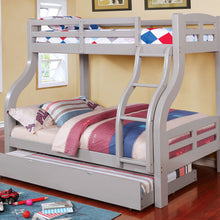 CM-BK618GY Twin/Full Bunk Bed - Solpine Transitional Style Grey Finish - Twin over Full Bunk Bed