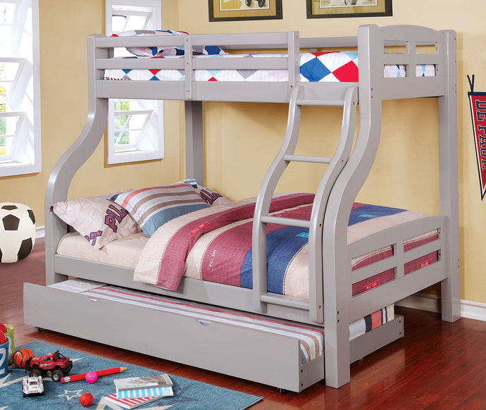 CM-BK618GY - Solpine Twin over Full Bunk Bed