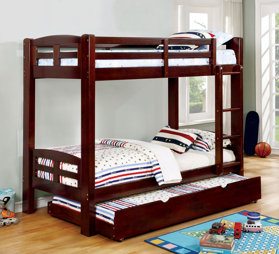 CM-BK618T-EX Twin/Twin Bunk Bed - Solpine Transitional Style Dark Walnut - Twin over Twin Bunk Bed