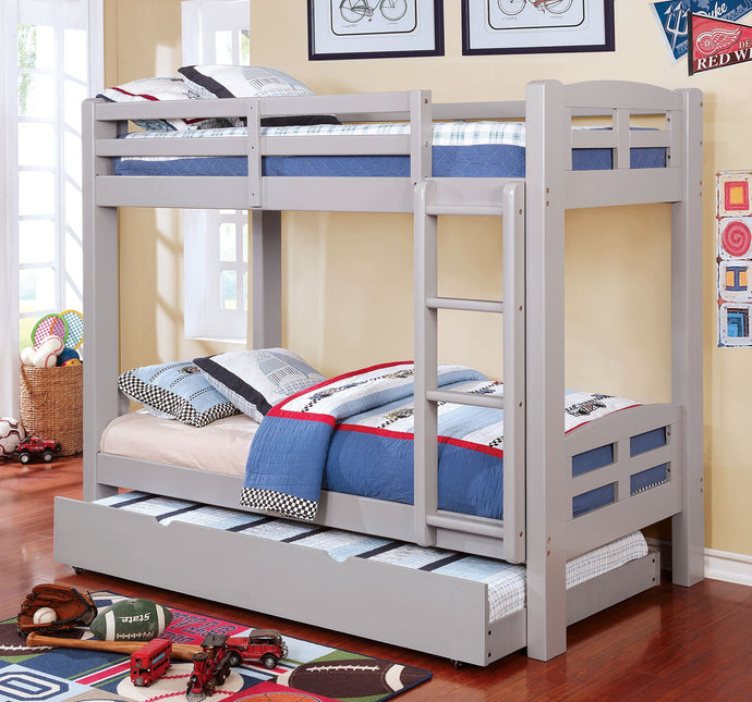 CM-BK618T-GY Twin/Twin Bunk Bed - Solpine Transitional Style Grey Finish - Twin over Twin Bunk Bed