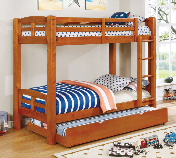 CM-BK618T-A Twin/Twin Bunk Bed - Solpine Transitional Style Oak Finish - Twin over Twin Bunk Bed
