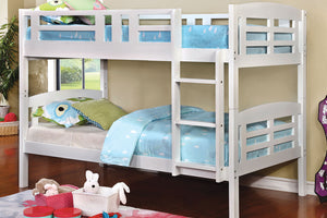 CM-BK627 Twin/Twin Bunk Bed - Cassie White Finish Contemporary Style Twin over Twin Bunk Bed