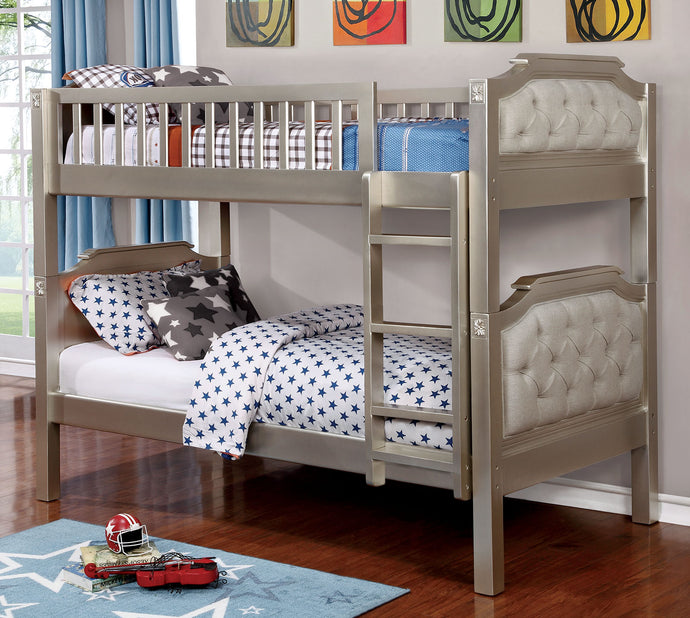 CM-BK717 Twin/Twin Bunk Bed - Beatrice Contemporary Style Champagne Finish - Twin over Twin Bunk Bed