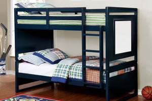 CM-BK901BL Twin/Twin Bunk Bed - Glendale Transitional Style Blue Twin over Twin Bunk Bed with Drawing Board