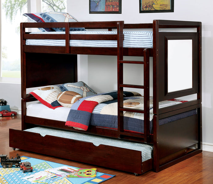 CM-BK901EX Twin/Twin Bunk Bed - Glendale Transitional Dark Walnut Twin over Twin Bunk Bed w/ Drawing Board