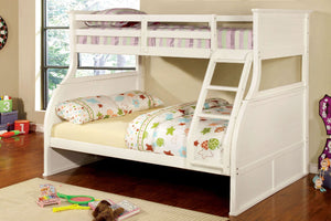 CM-BK923 Twin/Full Bunk Bed - Canova Transitional Style White Finish - Twin over Full Bunk Bed