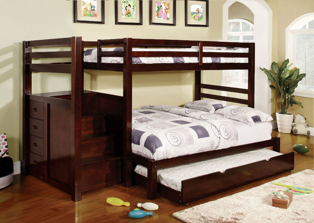 CM-BK966F Twin/Full Bunk Bed - Pine Ridge Contemporary Dark Walnut Finish Twin over Full Bunk Bed