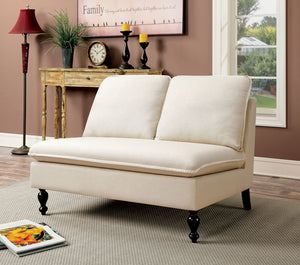 CM-BN1248 Bench - Kenzie Ivory Finish Fabric Contemporary Style Bench
